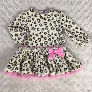 Little Me Leopard Print Dress Pink Tan Spots Bow